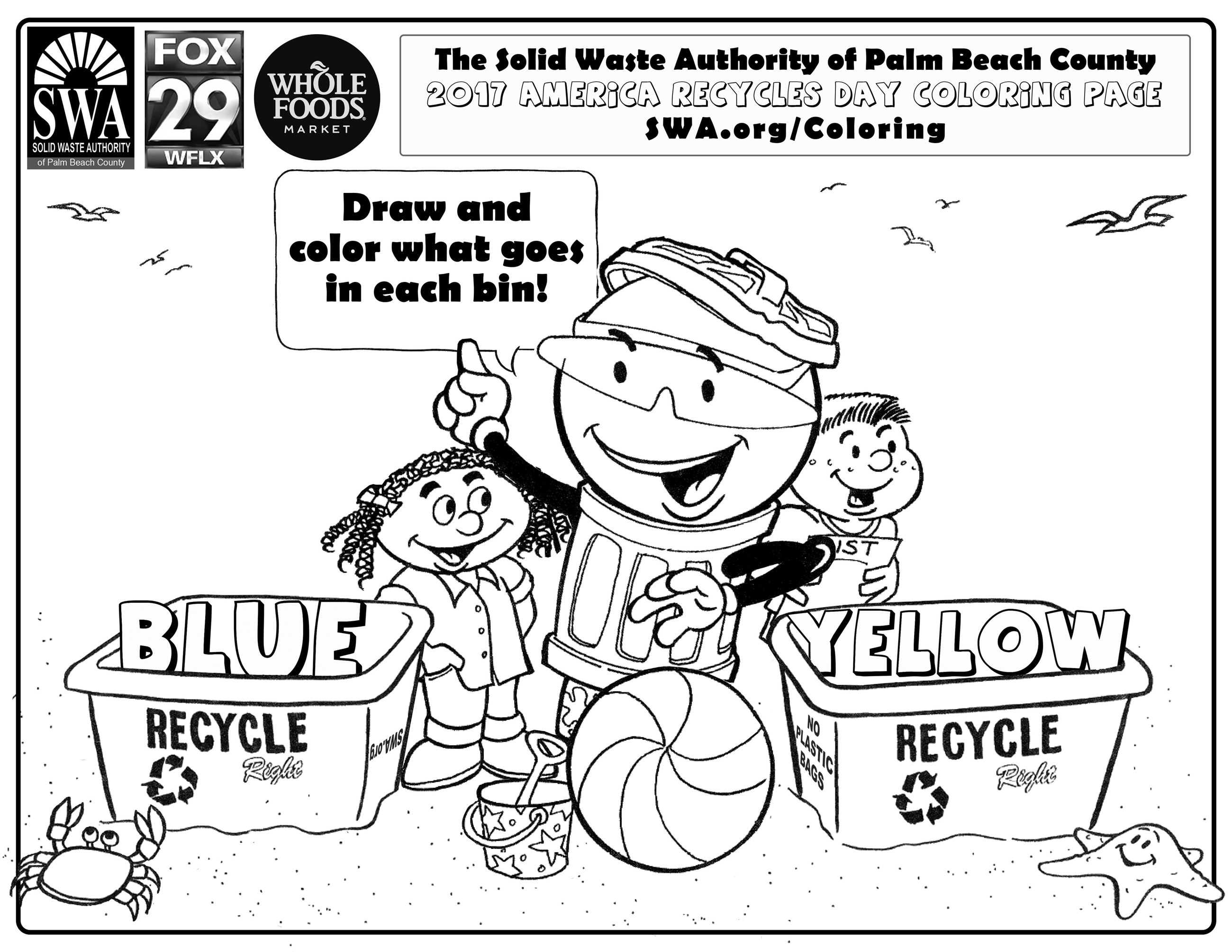 Colouring pages for recycling - The Easiest Way To Celebrate Earth Day Saturday Is By Downloading The Recycling Themed Coloring Page From Swa Org Coloring