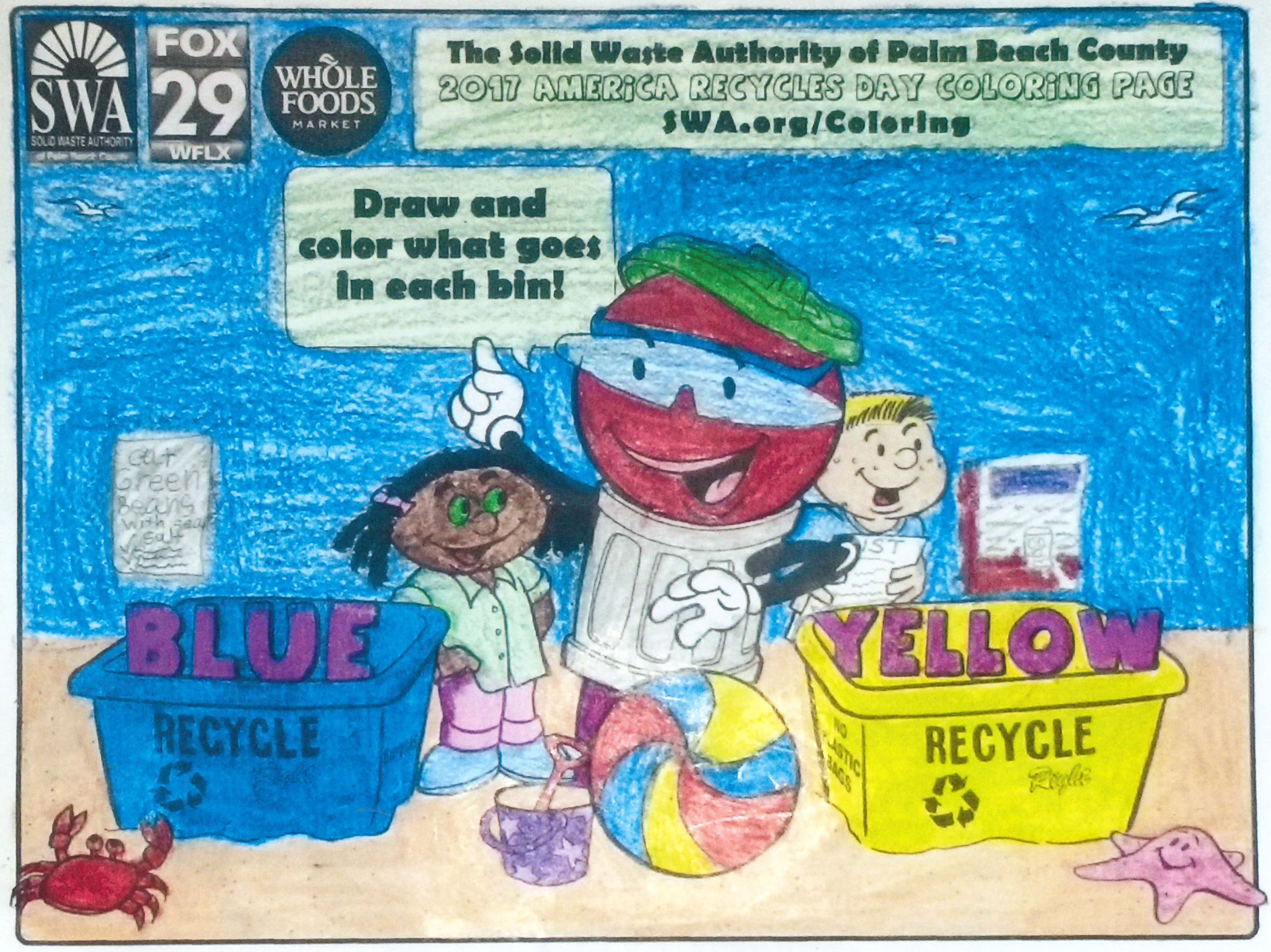 2018 SWA America Recycles Day Coloring Contest   Solid Waste ...