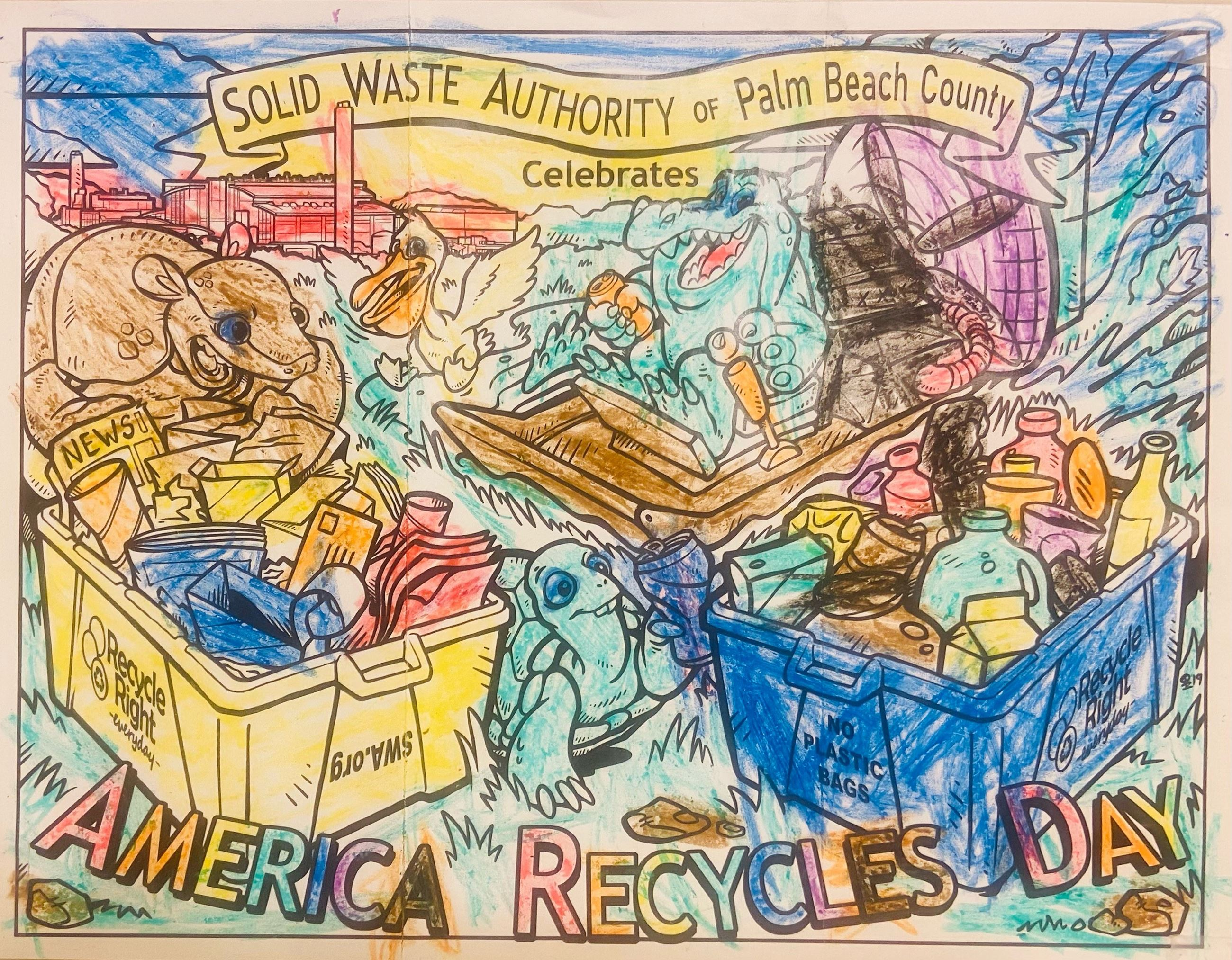 2020 Swa America Recycles Day Coloring Contest Solid Waste Authority Of Palm Beach County Fl
