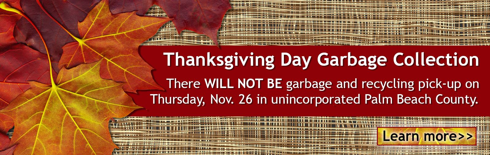 2020 Thanksgiving Day garbage collection graphic